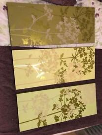 Green floral wall pictures
