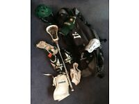 Lacrosse Starter Kit (Cascade Helmet, Warrior Stick, Brine Gloves, STX Arm Pads and Warrior Bag)