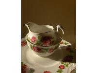 Vintage Royal Vale Bone China Tea Set with pink rose