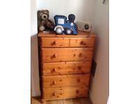 Large Solid Pine Tallboy / Chest of Drawers