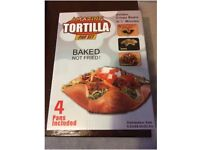 4x Tortilla Pan Set - Make Tortilla Wrap Baskets & Bowls to Serve Food In! New, Unused, Boxed
