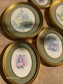 Vintage Oval Frames Floral Wall Hangings Flower Pictures