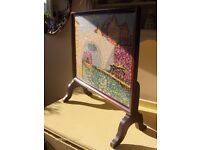 River Cottage Tapestry ,Fire Screen with Dark Wood frame