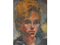 1960s Oil Painting ,American actress In Blue Top