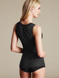 Ladies Grey Black V-Neck Sleeveless Vest Camisole Underwear.Size Small.