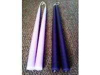 BRAND NEW LOVELY QUALITY VERY LONG FOUR TAPER CANDLES, 2 PALE PURPLE AND 2 DEEP PURPLE
