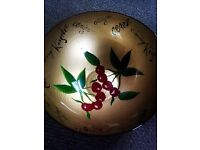 ORIGINAL LOVELY VERSATILE HAND PAINTED CHERRIES ON GOLD LARGE GOOD QUALITY DEEP GLASS BOWL
