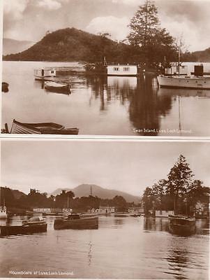 2 Swan Island Houseboats Luss Loch Lomond unused  RP pcs