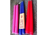 BRAND NEW LOVELY TAPER PAIRS OF CANDLES IN PINK, DARK PURPLE(NOT BLUE) AND RED