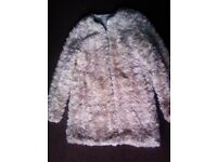 TRULY LOVELY FASHIONABLE NUDE & CREAMY COLOURED ORIGINAL ZARA FURRY LIGHT COAT IN M SIZE
