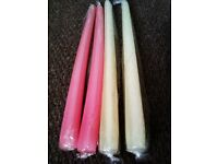 BRAND NEW LOVELY QUALITY FOUR TAPER CANDLES, 2 IN LOVELY PINK AND 2 IN VANILLA SHADE