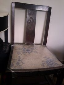 ONE NICE VERSATILE UPHOLSTERED (CAN BE CHANGED) DARK REAL WOOD CHAIR, SEAT, STOOL
