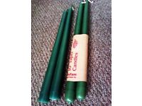 BRAND NEW LOVELY QUALITY FOUR DARK GREEN TAPER CANDLES