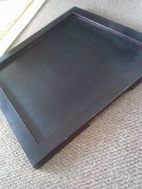 REAL GOOD QUALITY SOLID DARK WOOD LOVELY LARGE & SMALLER SQUARE TRAY
