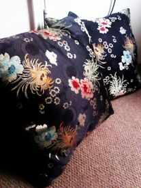 TWO TRULY LOVELY MATCHING 100% SILK CUSHIONS