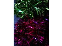TWO BRAND NEW TINSELS,RED AND GREEN, LOVELY SILKY STUNNINGLY SHINY EXTRA THICK & LONG