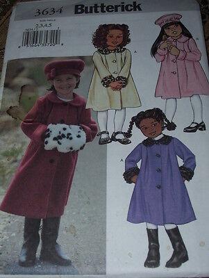 BUTTERICK #3634 - GIRLS CUTE PETER PAN COLLAR COAT - MUFF & HAT PATTERN  2-5 FF