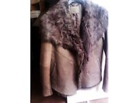ALMOST BRAND NEW TRULY LOVELY SOFT REAL FUR & LEATHER FEMININE JACKET, COAT