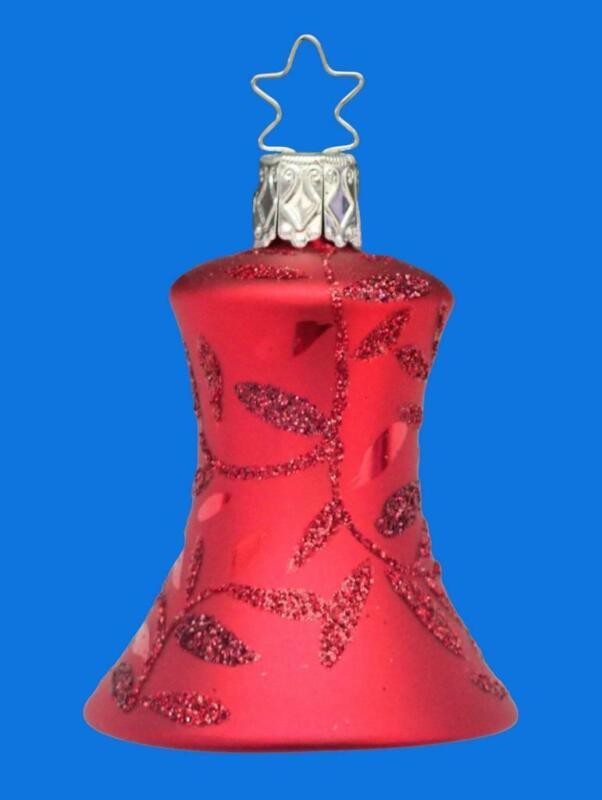 INGE GLAS CRIMSON RED BELL GLOCKE GERMAN BLOWN GLASS CHRISTMAS ORNAMENT SET