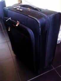 TRULY LOVELY LUXURIOUS STURDY ORIGINAL SWISS BLACK TROLLEY SUIT-CASE