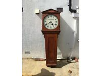London Brighton and South Coast Railway teak cased 18 inch dial weight driven wall clock.