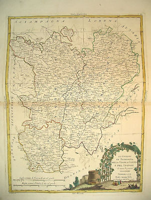 1777 Genuine Antique Hand Colored Map E Central France. Elegant Cartouche. Zatta