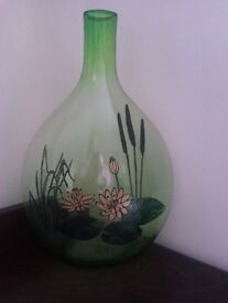 UNIQUE LOVELY REAL OIL PAINTED LOTUS &BAMBOO SOLID GLASS BOTTLE / VASE SIGNED BY ARTIST