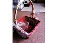 HAND MADE REAL WICKER LARGE VERSATILE BASKET WITH TWO SILVER BOWS FOR FRUIT, FLOWERS ETC