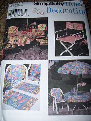 SIMPLICITY #7159 - DECK & PATIO ACCESSORIES - CHAIR PADS - TABLECLOTH PATTERN FF ()