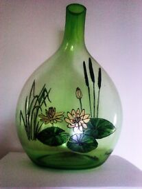 UNIQUE LOVELY REAL OIL PAINTED LOTUS & BAMBOO SOLID GLASS BOTTLE, VASE SIGNED BY ARTIST