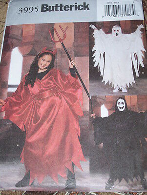 BUTTERICK #3995-BOYS & GIRLS DEMON-DEVIL-GHOST-HALLOWEEN COSTUME PATTERN 4-14 FF - Halloween Ghost Costume Pattern