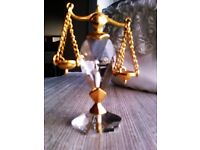 VERY GOOD QUALITY SPARKLING REAL CRYSTAL LITTLE LIBRA SIGN CHARM, ORNAMENT FOR KEEPS