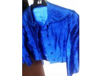 ALMOST BRAND NEW ORIGINAL HAND MADE REAL 100% SILK ELECTRIC BLUE EVENING COAT, JACKET
