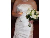 Stunning strapless Couture Bridal Gown by Jonathan James in ivory French taffeta. Size 10/12