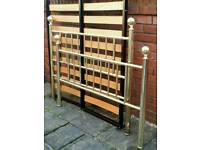 double bed frame, metal gold colour, strong sturdy. In very good condition.