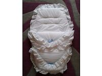 New white & blue broderie anglaise footmuff