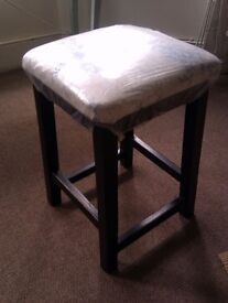 ONE VERSATILE UPHOLSTERED (CAN BE CHANGED EASILY) DARK REAL WOOD STOOL, SEAT, CHAIR