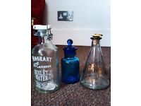 THREE DIFFERENT BUT TRULY LOVELY SMALL TOILETRY GLASS BOTTLES