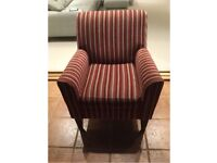 Red and Beige Striped Armchair in Great Condition