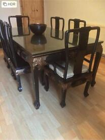 Hand carved oriental dining room table