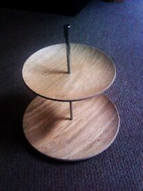TRULY LOVELY VERSATILE TWO TIER FRUIT OR CAKE WOODEN STAND PLATES