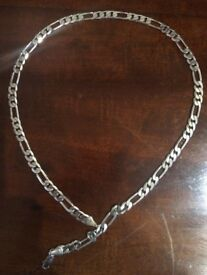 Unboxed Figaro style mens sterling silver necklace