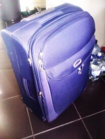 ALMOST BRAND NEW VERY VERSATILE AND LUXURIOUS QUALITY ORIGINAL STURDY NAVY BLUE LUGGAGE TROLLEY CASE