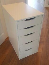 Large Modern White Desk 150cm width & Matching 5 Drawer Chest Ikea