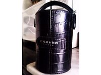 ORIGINAL 'CARVEN' PARIS BLACK JEWELLERY TUBE BOX, TWO DRUMS WITHIN AND MIRROR ON TOP