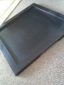 REAL GOOD QUALITY SOLID DARK WOOD LOVELY LARGE & SMALLER SQUARE TRAYS