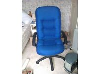 Large office chair, swivels and height adjusts