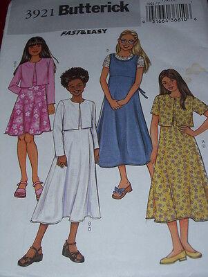 BUTTERICK #3921 - GIRLS CUTE JACKET - SLEEVELESS DRESS & JUMPER PATTERN  7-16 FF (Cute Girls Dresses 7 16)