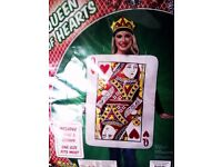 HALLOWEEN SPECIAL - ONE VERSATILE COSTUME 'QUEEN OF HEARTS' TUNIC & CROWN, ONE SIZE FITS MOST