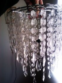 TRULY LOVELY NEW LIKE THREE MATCHING CRYSTAL LIKE CEILING SHADES, LAMP PENDANTS